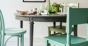 kjøkkenstoler malt i turkis