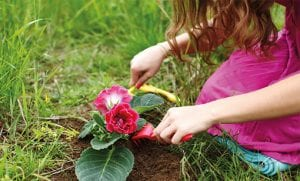 jente som planter blomst