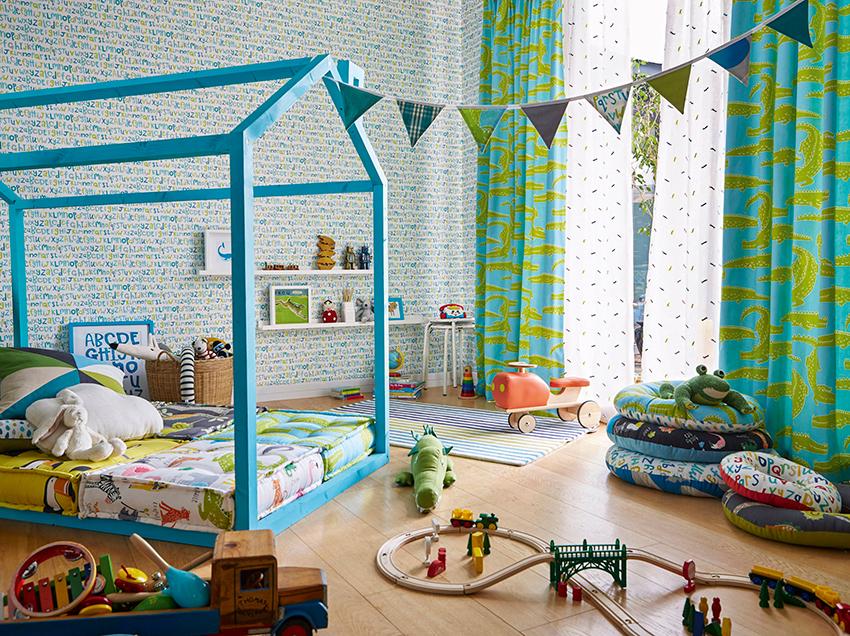 barnerom i blå og grønne farger