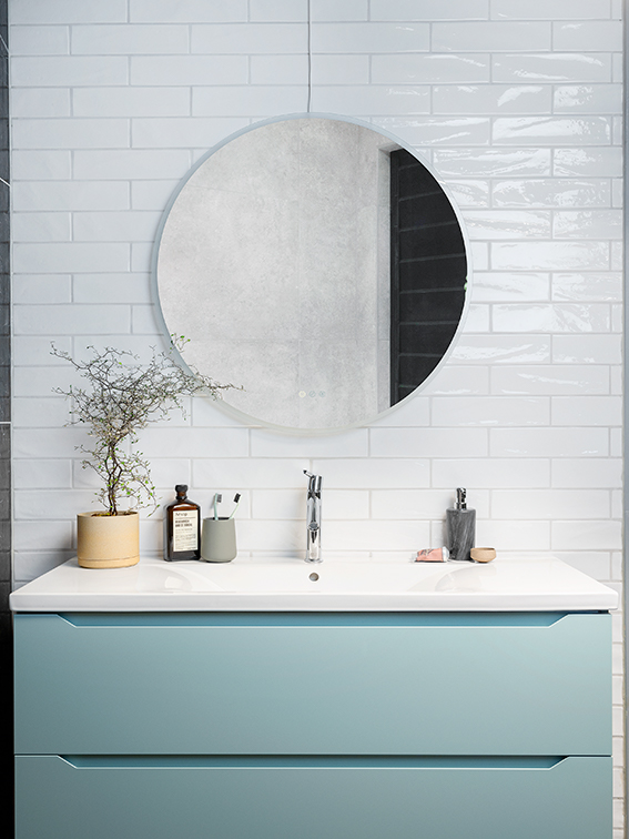 rundt speil på baderom