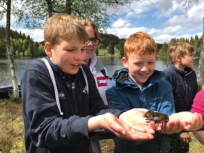 Fra Skogdagen på Garsjø i Lier, der alle 6. klassinger i grunnskolen deltar. Foreningen driver undervisning for å gi elevene kunnskap om hva som finnes i vannene, deriblant ferskvannskreps.